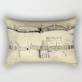 George Washington Bridge Construction Blueprint Rectangular Pillow