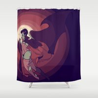 dracula Shower Curtains featuring beautiful dracula by Niki Buckno