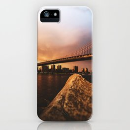 nyc skyline at dusk iPhone Case