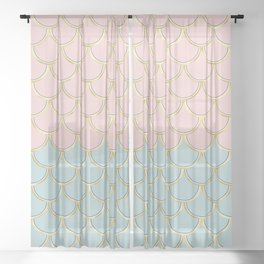 Retro Vintage Inspired 1940s Beachy Fish Scales Pattern in Pink Green and Gold Sheer Curtain