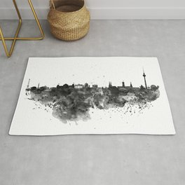 Black and white Berlin watercolor skyline Rug