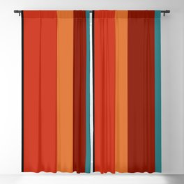 A peerless association of Police Blue, Ming, Putty, Lanzones, Urobilin, Brownish Orange, Rusty Red, Kenyan Copper and Almost Black vertical stripes. Blackout Curtain