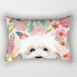 Golden Doodle florals pet portrait art print and dog gifts Rectangular Pillow