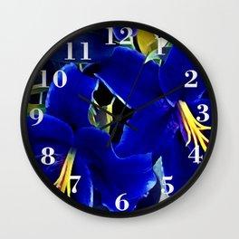 Blue Lilies Wall Clock