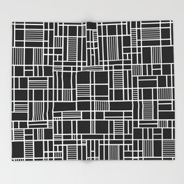 Map Lines Black Throw Blanket