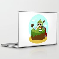 monster hunter Laptop & iPad Skins featuring Monster Hunter - Felyne and Poogie by tcbunny
