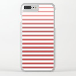 Mattress Ticking Wide Striped Pattern in Red and White Clear iPhone Case