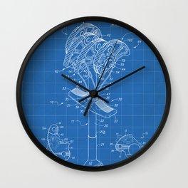 Climbing Anchor Patent - Rock Climber Art - Blueprint Wall Clock