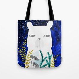 polar bear with botanical illustration in blue Tote Bag
