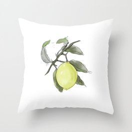 Original Lemon Watercolor Painting #2 Throw Pillow