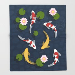 Japanese Koi Fish Pond Throw Blanket