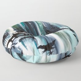 Blue Cityscape Floor Pillow