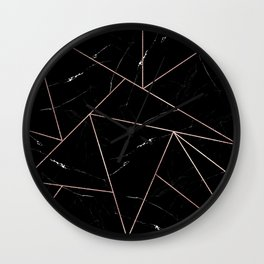 Black Geometric Marble Triangles Gold Outline Wall Clock
