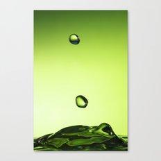 Green water drops Canvas Print