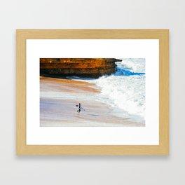 Surfer go-out, Winkipop/Bells Beach, Victoria, Australia Framed Art Print