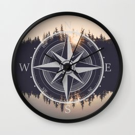 Wooded Lake Reflection Compass Wall Clock