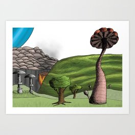 Umbrella Hills Art Print