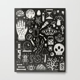 Curiosities: Bone Black Metal Print