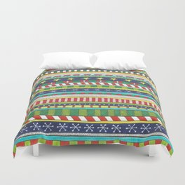 hand drawn christmasy striped pattern Duvet Cover
