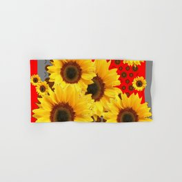 RED-YELLOW SUNFLOWERS GREY ABSTRACT Hand & Bath Towel