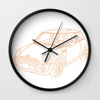 mini cooper Wall Clocks featuring My Mini Cooper by Aimee Liwag
