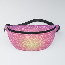 White Lace Mandala in Purple, Pink, and Yellow Fanny Pack