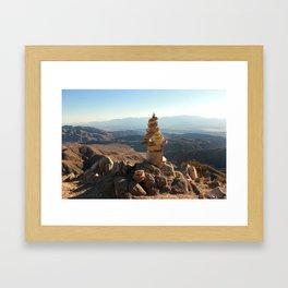 Joshua Tree Rock Stacking Framed Art Print