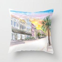 Charleston Street Scene With Sunset In South Carolina Throw Pillow