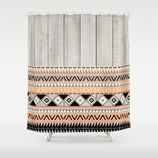 Peach Coral Andes Abstract Aztec Tribal Gray Wood Shower Curtain