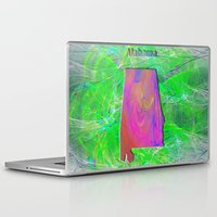alabama Laptop & iPad Skins featuring Alabama Map by Roger Wedegis