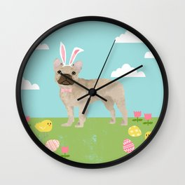 French Bulldog easter spring dog breed gifts pure breed frenchies portrait Wall Clock