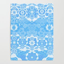 Boujee Boho Delicate Blue Lace Poster