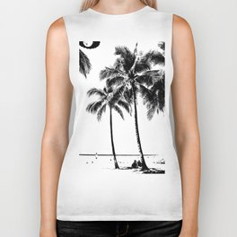 Black and White Palm Tree with Hawaii Summer Sea Beach Biker Tank