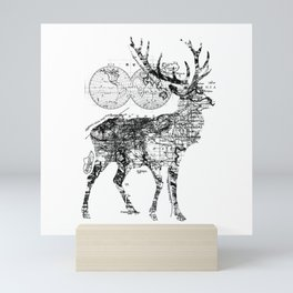 Deer Wanderlust Black and White Mini Art Print