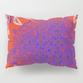 Blue=White Ink on Bright Red Pillow Sham