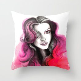 Pink and Red Flame Hair Throw Pillow