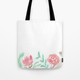 Pink Florals And Mint Leaves Tote Bag