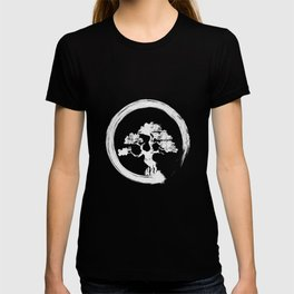 Japanese Bonsai Tree White Zen Enso Circle Vintage T-shirt