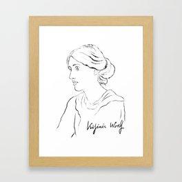 Virginia Woolf Portrait with Signature Framed Art Print