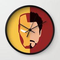 stark Wall Clocks featuring Iron Stark by Nick Kemp