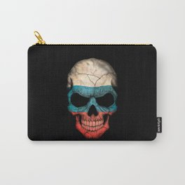 Dark Skull with Flag of Russia Carry-All Pouch