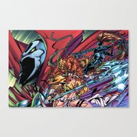 spawn Canvas Prints featuring Spawn & Angela & She-Spawn by J Skipper