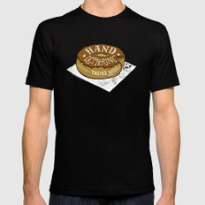 hand drawn lettering always tastes better MEDIUM Mens Fitted Tee Black