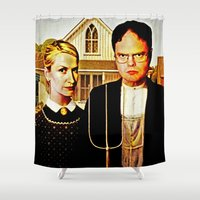 office Shower Curtains featuring Dwight Schrute & Angela Martin (The Office: American Gothic) by Silvio Ledbetter