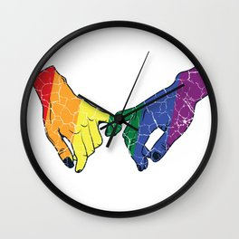 LGBT gaypride hands couple love relationship gift Wall Clock