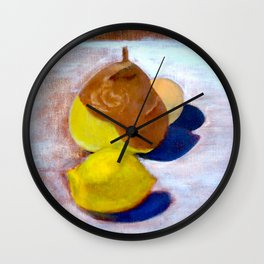 Still Life: Lemon, Pear, and Sphere Wall Clock
