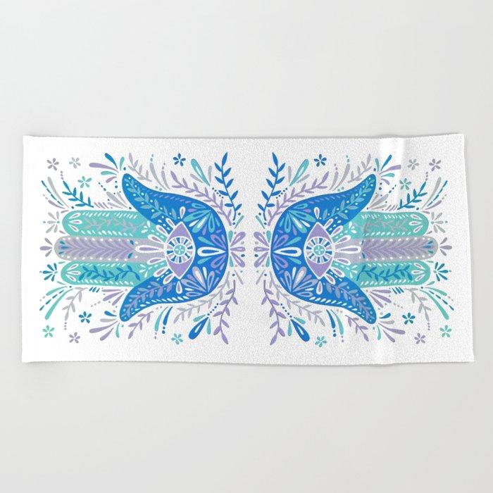 Hamsa Hand – Blue & Turquoise Palette Beach Towel