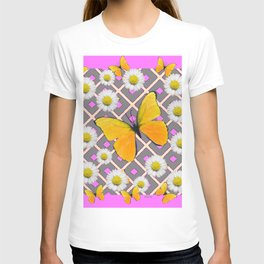 Yellow Butterfly on Lilac-pink Shasta Daisy Grey Pattern T-shirt