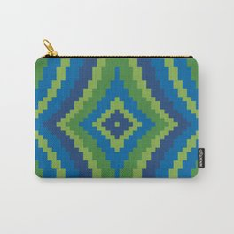 Peacock Color Wavy Diamond Carry-All Pouch
