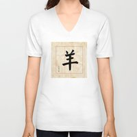 goat V-neck T-shirts featuring GOAT  by Calligrapher